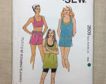 Kwik Sew 2609, Excersize Outift,  Pattern 2609, Shorts and Top, Racing Back Top, Crop Top, Oversize Top, Sizes Xs - XL Master Pattern Uncut