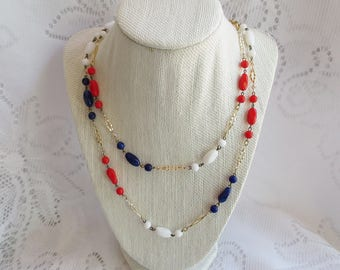 Vintage Patriotic Necklace, Red White and Blue & Gold Necklace, Fourth of July Jewelry, Military Mom Wife