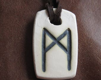 Pendant with rune of  Mannaz