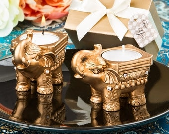 Gold Good luck Indian Elephant Candle Holder Eastern Wedding Party Favors 10-72 Qty  8967