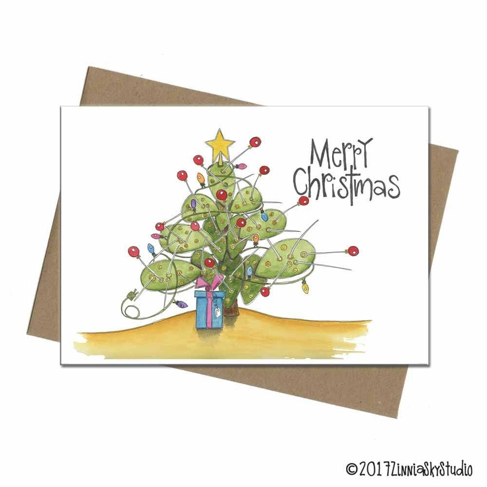 Southwest prickly pear cactus tree christmas card sku zoom kristyandbryce Images