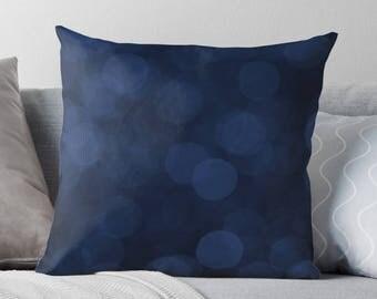 Dark Blue Pillow, Navy Cushion, Abstract Decor, Blue Throw Pillow, Minimalist Decor, Bokeh, Modern Decor, Cottage Chic