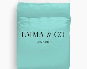 Personalized Duvet Cover, Breakfast at Tiffanys, Girls Bedroom Decor, Breakfast at Tiffanys Decor, Dorm Bedding, Teen Girl Room Decor, Aqua