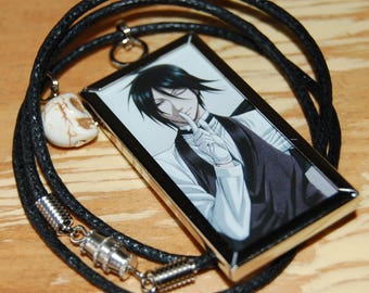 Black Butler and Ciel Necklace~ Double Sided with Howlite Skull