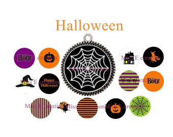 Halloween 25mm and 20mm and 18mm round cabochon digital collage sheet