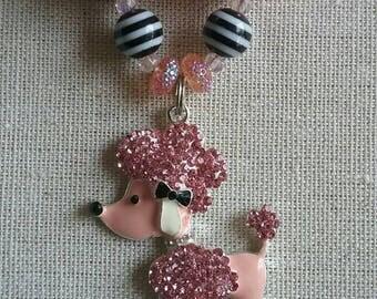 Adorable French Poodle Bubble Gum Bead Necklace
