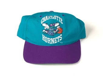 90s charlotte hornets nba basketball teal purple Snapback Snap back Strapback hat One Size Adult Unisex wool  g cap wave