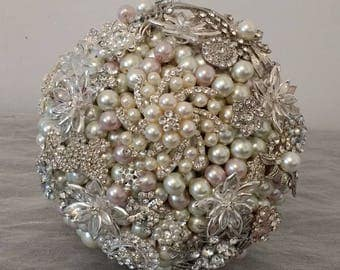 Stunning Ivory and Pink Pearl and Brooch Bouquet.