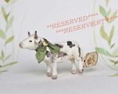RESERVIERT ++ Nostalgische Wattefigur Christbaumschmuck Ornament Kuh FilASophie  spun cotton
