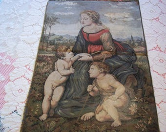 Vintage Woven Tapestry Panel Catholic Religious Scene Madonna & Child with Saint John the Baptist Wall Hanging Textile Art Collectible