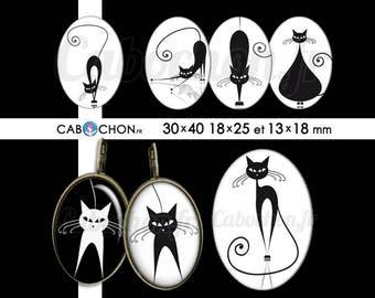 Chat noir Chat blanc • 45 Images Digitales OVALES 30x40 18x25 13x18 mm silhouette ombre cat page cabochon cabochons bijoux