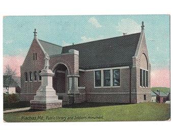 Machias Maine antique postcard | Porter Memorial Library, Soldiers Monument | 1910s vintage ME travel souvenir, hometown decor