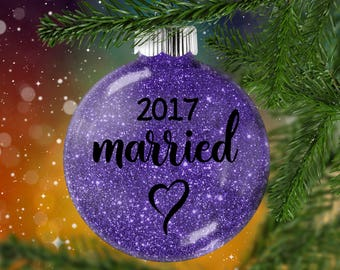 Married Glitter Ornament with Year, Engaged Glittered Bauble with Year, Christmas Gift  for Couple, Personalized Shatter Resistant Glass