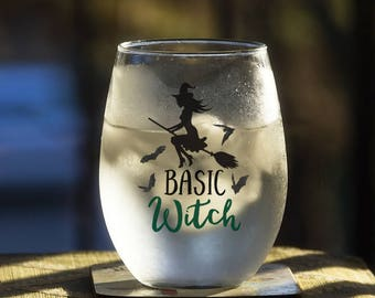 Basic Witch Drinking Glass, Halloween Party Favor, All Hallow's Eve Punk Gothic Beverage Container, Beer Wine Liquor Soda Milk Cup Mug