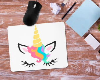 Unicorn Mouse Pad, Rainbow Unicorn Mousepad, Unicorn Office Desk Accessories, Personalized Mouse Pad, Office Supplies, Customize for Free