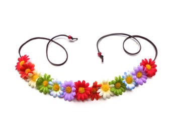 The Loose Lucy Flower Crown in rainbow colors, adjustable flower crown headband with rainbow daisies, multicolor Coachella flower crown