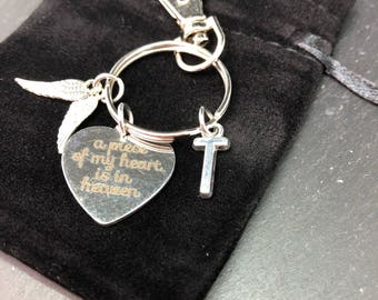 A piece of my heart is in hevean key ring, personalised. Angel wings, initial monogrammed key chains Keychain keyring gift Memory gift, bere