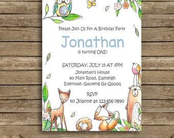 WOODLAND Birthday Invitation, Boy Woodland Animals Invitation, Woodland Invitation, Forest Animals Invitation,  Editable, Printable