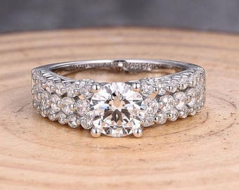 Round 6.5MM in Solid 14K White Gold  Fashion Semi Mount Ring / Diamond Ring / Engagement Ring