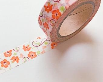 "Orange Flower Floral Washi 10.9 Yards Long 0.6"" Wide Tape Gift Wrap Tapes"