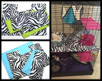Custom rat manor fleece cage liner set | zebra print | rat cage accessories | cage mats | cage covers | shelf covers | MADE TO ORDER