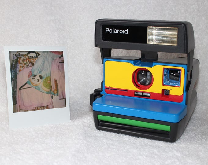 Cleaned & Tested Polaroid 600 OneStep - Upcycled Blue, Yellow, Red and Green With Built-In Close Up And Flash