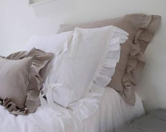 Linen PILLOWCASE, Ruffled Linen Pillowcase, Linen Bedding, Stonewashed Linen, Double Short Side Ruffle, Farmhouse Decor, PAIR 7801