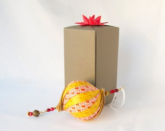 Red & Gold Lion Ornament, Handmade Paper Ornament