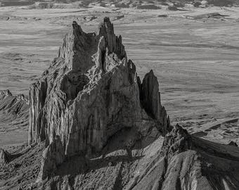 Ship Rock No. 15, Navajo Reservation, 2017: A Black and White Photograph 12x15
