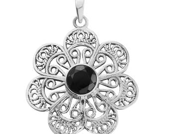 Floral Pendant Thai Black Spinel 7mm Round Cut Sterling Silver without Chain TGW 1.30 cts.