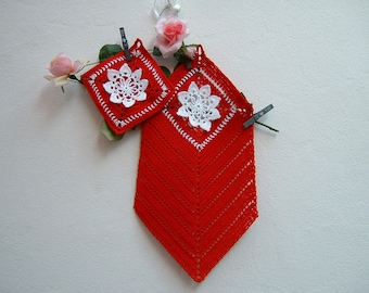 Red and white cotton kitchen towel and pot holder-full kitchen-crochet Christmas gifts-red Potholder and dishcloth to crochet