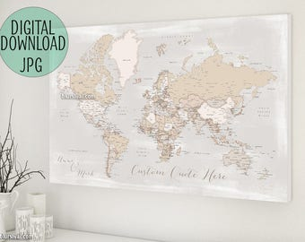 Personalized gift for boyfriend, gift for husband, World map push pin PRINTABLE world map with cities. Custom rustic world map - Map141 131