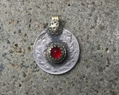 Vintage Kuchi Coin Pendant with Red Glass from Afghanistan - 28 mm - 1 1/8 Inches