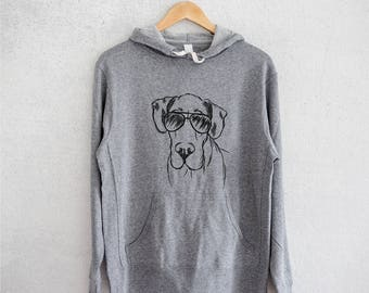 Titus the Great Dane Hoodie - Grey French Terry - Unisex Slim Fit