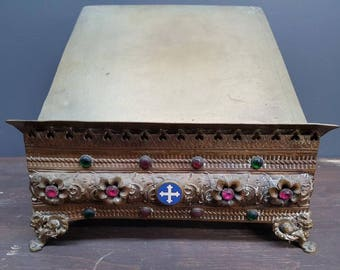 French religious Art Antique brass bible missal stand with cross stones church presbytery circa 1890s
