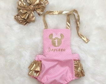 Pink and Gold Minnie Romper