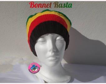 Falling unisex knit Rasta Hat handmade knit