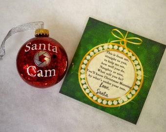 Santa Camera Ornament, Santa's Watching, Elf Spy Camera Laminated letter from Santa
