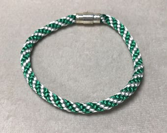 SALE** 8.5 inch Green and White Spiral Woven Bracelet, Kumihimo Bracelet, Rope Bracelet, Braided Bracelet, Friendship Bracelet