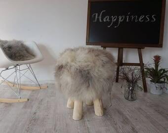 tabouret fourrure etsy. Black Bedroom Furniture Sets. Home Design Ideas