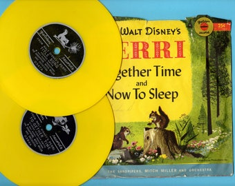 Vintage 1957 Walt Disneys Perri The Squirrel Two 45 RPM Records Four Songs from The Movie Mitch Miller Little Golden Records