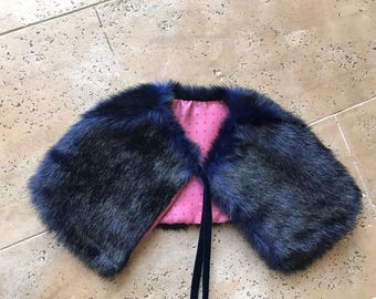 Dog jacket coat capelet cover up pet coat dog faux fur wrap doggy shawl silk lined
