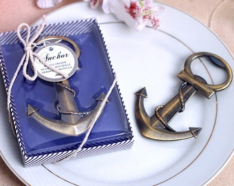 50 Black Bronze Anchor Openers (gift boxes) - Bottle Opener - Beach Sea Wedding Party, Gifts Favors