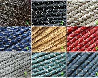 Braided leather cord 5mm Round leather strip Thick braid leather cord