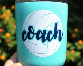 Volleyball Name DECAL Two Color - Volleyball Sticker - Volleyball Coach Gift - Volleyball Team Gift