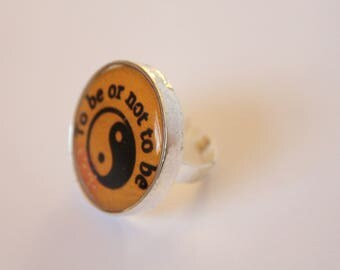 To Be Or Not To Be Ring Yin Yang Ring; Unique Ring; Literary Jewellery Collection