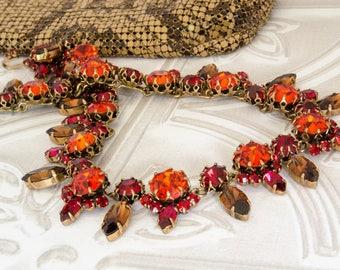 Vintage Rhinestone Necklace - Fall Jewelery - Austrian Autumn Wedding Necklace - 1950s Statement Jewelry - Rockabilly Gift For Her - OOAK