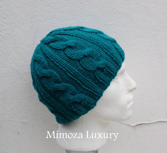 Teal Green Men's Beanie hat, Hand Knitted Hat in sea green beanie hat, knitted men's, women's beanie hat, winter beanie hat, green ski hat