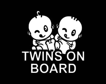 Twins On Board Decal Window Bumper Baby On Board Car Decal Laptop Cute Twins Decal Twin Babies Car Decal Baby on Board Truck Decal