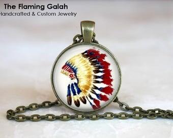 FEATHER HEADDRESS Pendant • Native American Chief Headdress • Boho Feathers • BoHo Headdress • Gift Under 20 • Made in Australia (P1507)